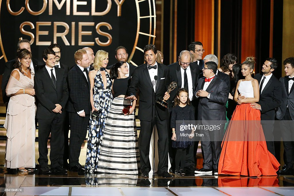 Steve Levitan and cast and crew of 'Modern Family' appear onstage during the 66th Annual Primetime Emmy Awards held at Nokia Theatre LA Live on...