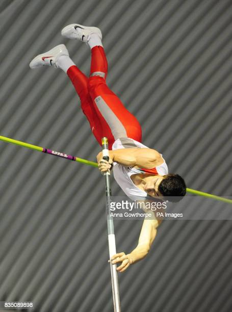 Steve Lewis in action in the Men's Pole Vault during Aviva European Trials and UK Championships at the English Institute of Sport Sheffiled