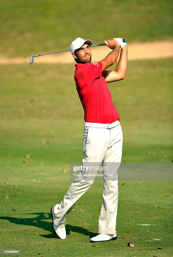 Steve Lewton of England plays a shot during round four of the Asian Tour Qualifying School Final Stage at Springfield Royal Country Club on January 26, 2013 in Hua Hin, Thailand.