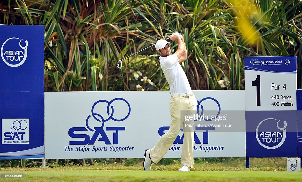 Steve Lewton of England plays a shot during round three of the Asian Tour Qualifying School Final Stage at Springfield Royal Country Club on January 25, 2013 in Hua Hin, Thailand.