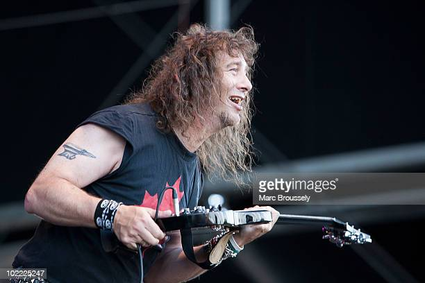 Steve 'Lips' Kudlow of Anvil performs on stage at Hellfest Festival on June 19 2010 in Clisson France