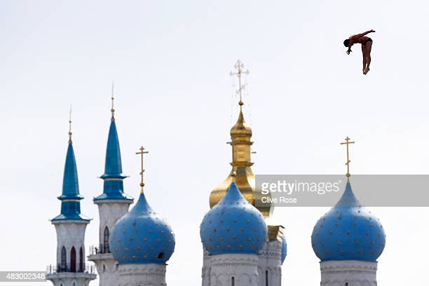 Steve Lo Bue of the United States competes in the Men's 27m High Diving Final on day twelve of the 16th FINA World Championships at the Kanzanka...