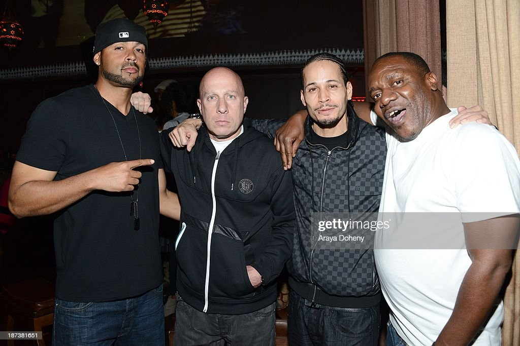 Steve Lobel (C) and Andre Truth attend the Emmett/Furla/Oasis Films hosts celebration for the upcoming production of 'Tupac' at Zanzibar on November 7, 2013 in Santa Monica, California.