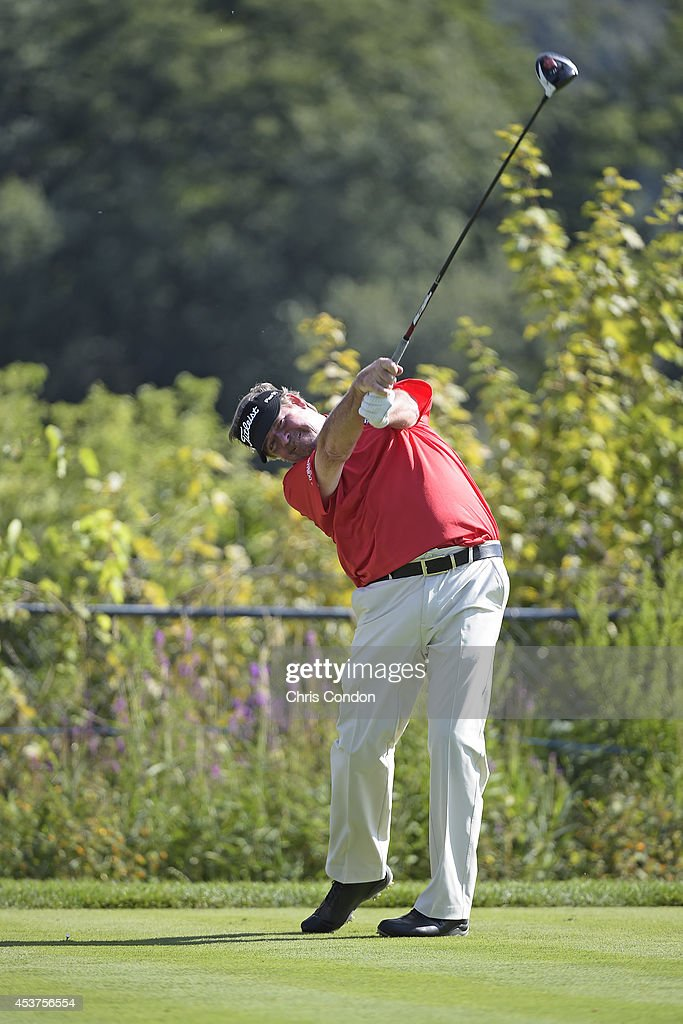 <a gi-track='captionPersonalityLinkClicked' href=/galleries/search?phrase=Steve+Lowery&family=editorial&specificpeople=227345 ng-click='$event.stopPropagation()'>Steve Lowery</a> tees off on the 12th hole during the final round of the Champions Tour Dick's Sporting Goods Open at En-Joie Golf Course on August 17, 2014 in Endicott, New York.
