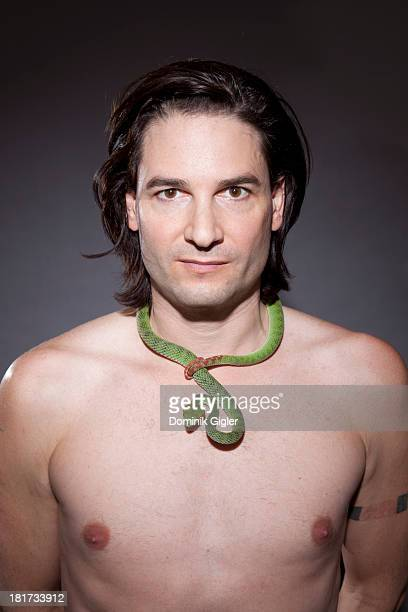 Steve Ludwin poses with his venomous Green Tree Viper on November 22 2011 in London England The 'Snake Man' Steve Ludwin injects venom from...