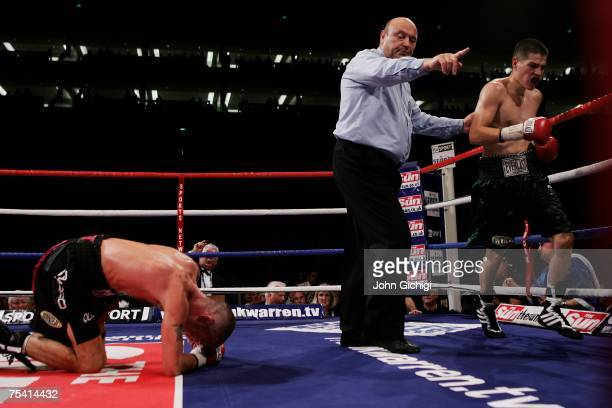 Steve Luevano of United States of America is shown to the neutral corner in his bout against Nicky Cook of Great Britain for the vacant WBO...