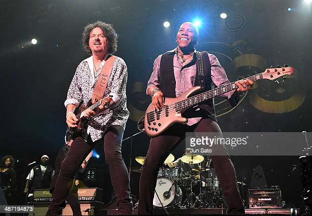 Steve Lukather and Nathan East of Toto perform live during their 35th Anniversary Tour at the Nippon Budokan on April 28 2014 in Tokyo Japan