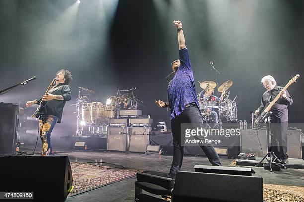 Steve Lukather Joseph Williams and David Hungate of Toto perform on stage at Eventim Apollo on May 26 2015 in London United Kingdom