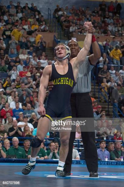 21 MARCH 2009 Steve Luke of the University of Michigan celebrates after defeating Mike Miller of Central Michigan University in the 174 pound...