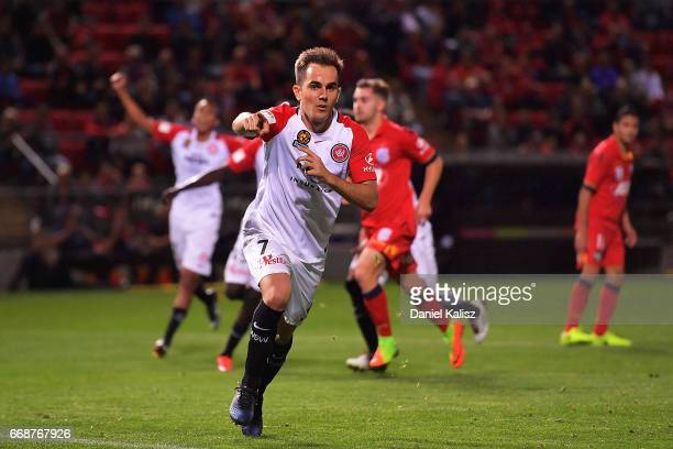 Steve Lustica of the Wanderers celebrates after scoring from a penalty during the round 27 ALeague match between Adelaide United and the Western...