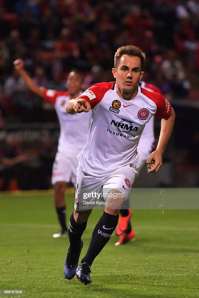 Steve Lustica of the Wanderers celebrates after scoring from a penalty during the round 27 A-League match between Adelaide United and the Western Sydney Wanderers at Coopers Stadium on April 15, 2017 in Adelaide, Australia.