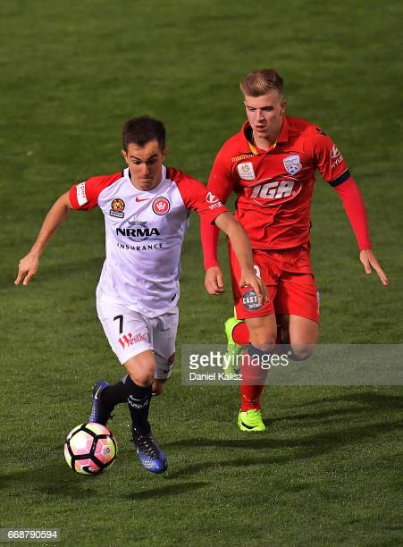 Steve Lustica of the Wanderers controls the ball during the round 27 ALeague match between Adelaide United and the Western Sydney Wanderers at...