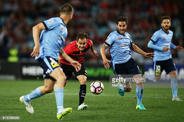 Steve Lustica of the Wanderers controls the ball during the round one ALeague match between the Western Sydney Wanderers and Sydney FC at ANZ Stadium...