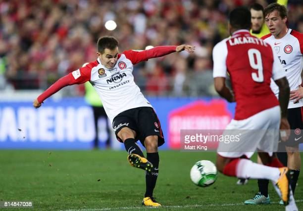 Steve Lustica of the Wanderers scores a goal during the match between the Western Sydney Wanderers and Arsenal FC at ANZ Stadium on July 15 2017 in...