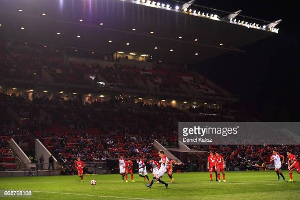 Steve Lustica of the Wanderers takes a penalty kick during the round 27 ALeague match between Adelaide United and the Western Sydney Wanderers at...