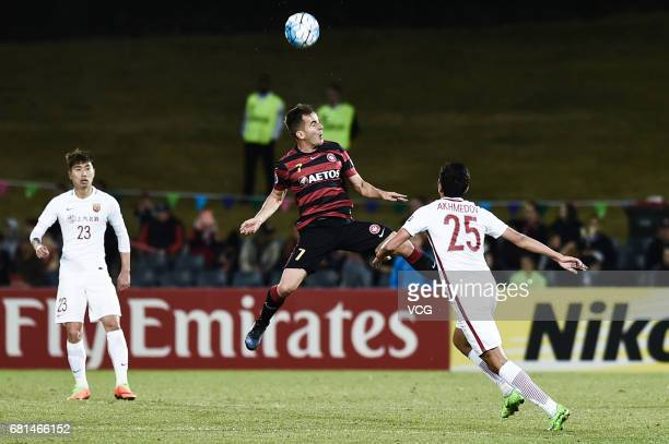 Steve Lustica of the Western Sydney Wanderers heads the ball during 2017 AFC Asian Champions League group match F between the Western Sydney...
