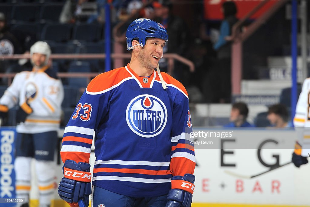 Steve MacIntyre #33 of the Edmonton Oilers warms up prior to a game against the Buffalo Sabres on March 20, 2014 at Rexall Place in Edmonton, Alberta, Canada.