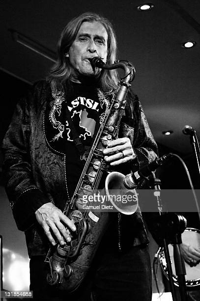 Image has been converted to black and white Steve MacKay performs at La Machine du Moulin Rouge on December 17 2010 in Paris France