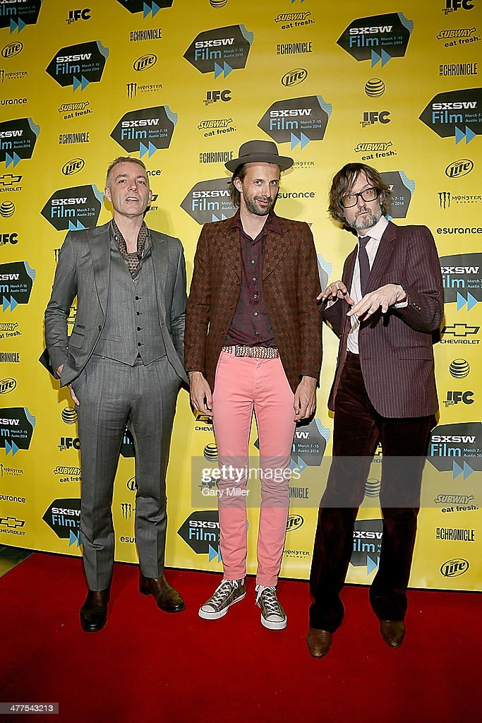Steve Mackey, Mark Webber and Jarvis Cocker arrive for the premiere of their new film 'PULP' during the South By Southwest Film Festival on March 9, 2014 in Austin, Texas.