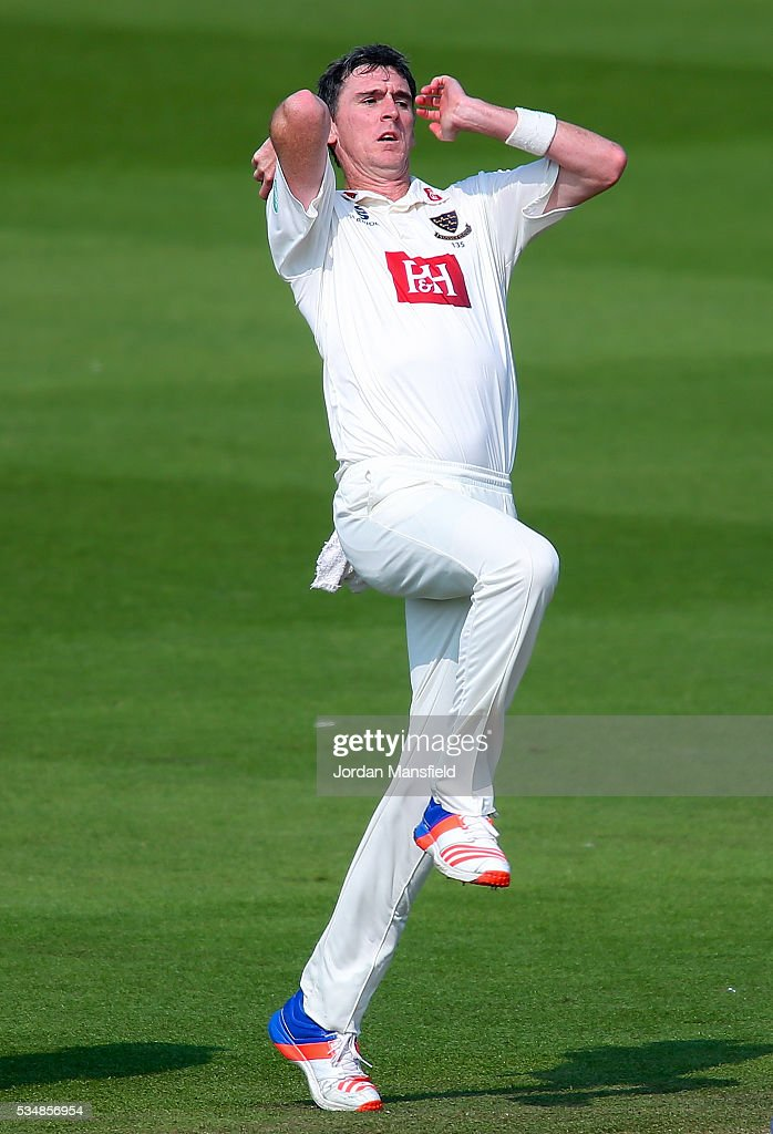 Steve Magoffin of Sussex bowls during day one of the Specsavers County Championship Division Two match between Sussex and Derbyshire at The 1st Central County Ground on May 28, 2016 in Hove, England.