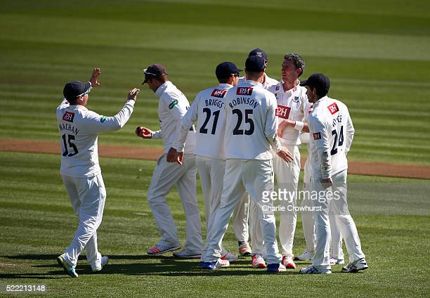 Steve Magoffin of Sussex celebrates taking the wicket of Alastair Cook of Essex during day two of the Specsavers County Championship Division Two...