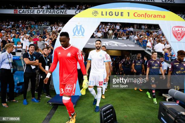 Steve Mandanda and Adil Rami of Marseille during the Ligue 1 match between Olympique Marseille vs Dijon FCO at Stade Velodrome on August 6 2017 in...