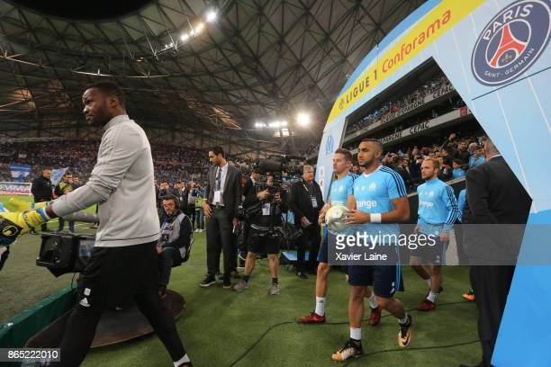 Steve Mandanda Dimitri Payet Florian Thauvin and Valere Germain of Olympique Marseille during the Ligue 1 match between Olympique Marseille and Paris...
