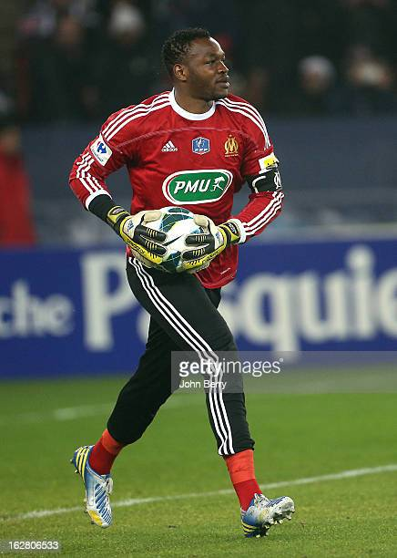 Steve Mandanda goalkeeper of OM in action during the French Cup match between Paris Saint Germain FC and Olympique de Marseille OM at the Parc des...