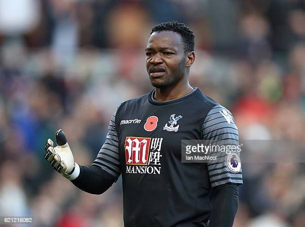 Steve Mandanda of Crystal Palace looks on during the Premier League match between Burnley and Crystal Palace at Turf Moor on November 5 2016 in...