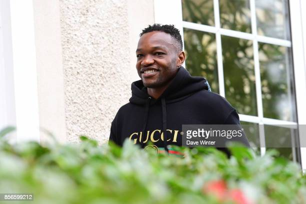 Steve Mandanda of France arrives at Centre National du Football on October 2 2017 in Clairefontaine en Yvelines France