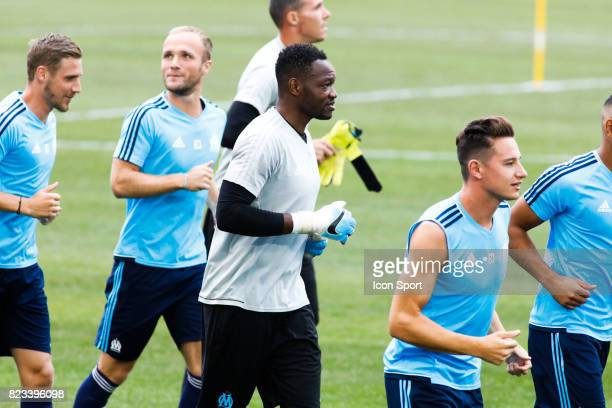 Steve Mandanda of Marseille during the training session before the UEFA Europa League qualifying match between Marseille and Ostende at Stade...