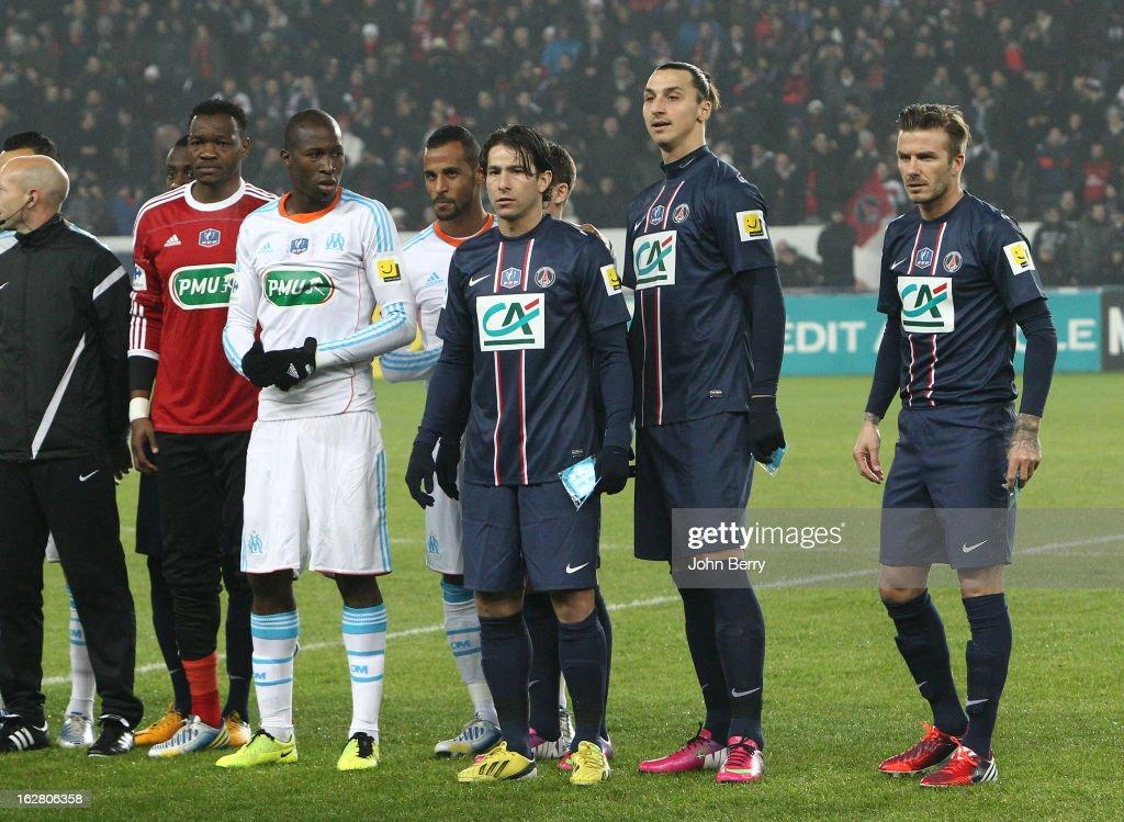 Steve Mandanda Rod Fanni Lucas Mendes of OM Maxwell Scherrer Zlatan Ibrahimovic David Beckham of PSG pose before the French Cup match between Paris...