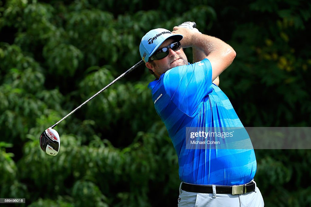 Steve Marino plays his shot from the second tee during the final round of the John Deere Classic at TPC Deere Run on August 14 2016 in Silvis Illinois