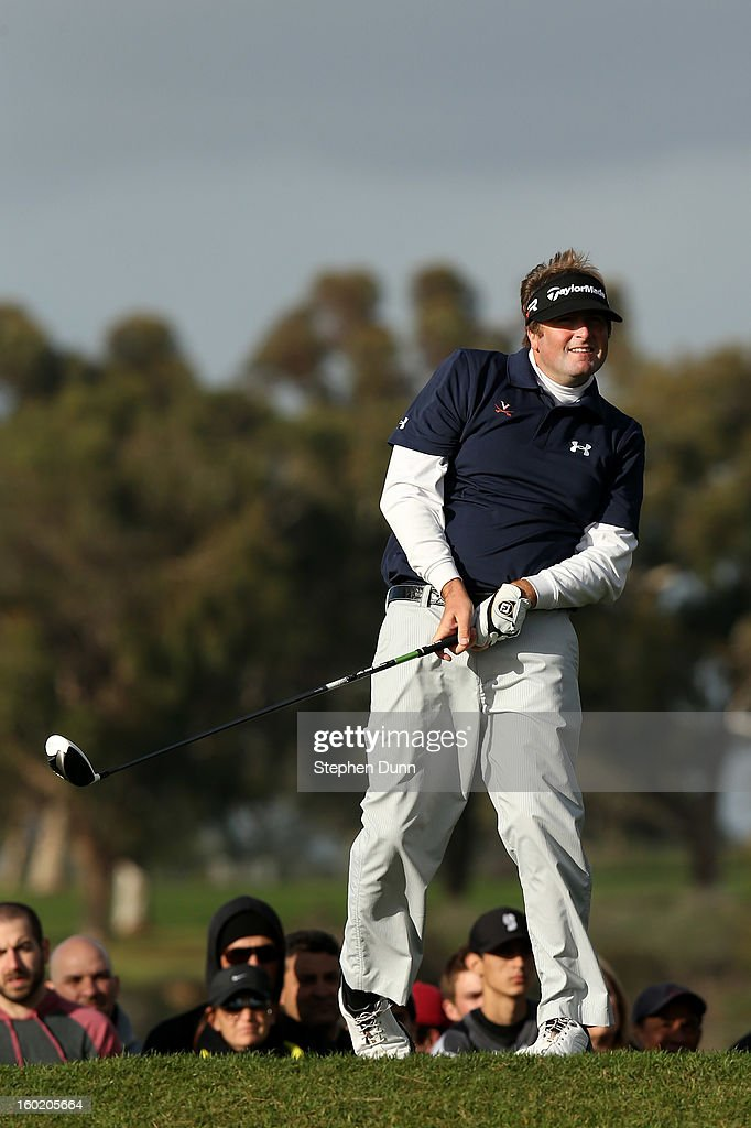 Steve Marino watches his tee shot on the second hole during the final round of the Farmers Insurance Open on the South Course at Torrey Pines Golf Course on January 27, 2013 in La Jolla, California.