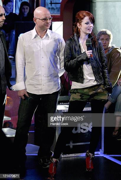 Steve Marker and Shirley Manson of Garbage during Garbage Visits Fuse's 'Daily Download' April 19 2005 at Fuse Studios in New York City New York...