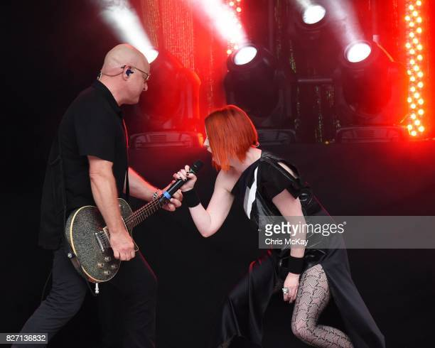 Steve Marker and Shirley Manson of Garbage perform at Chastain Park Amphitheater on August 6 2017 in Atlanta Georgia