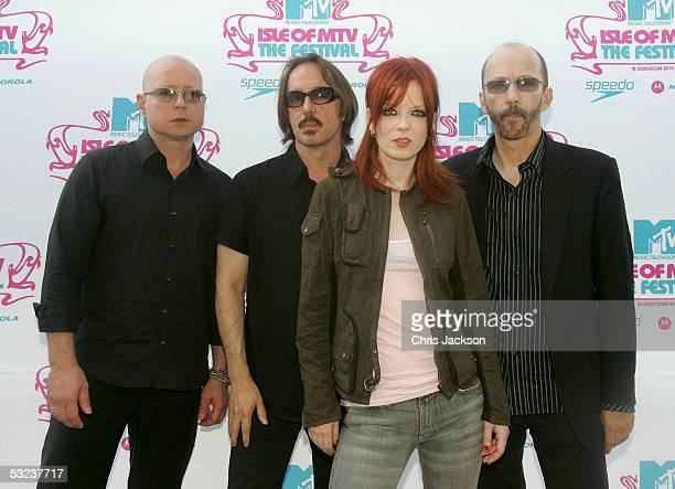 Steve Marker Butch Vig Shirley Manson and Duke Erikson of Garbage pose backstage at the Isle Of MTV Club Tour 2005 at Piazza dell'Unita d'Italia on...
