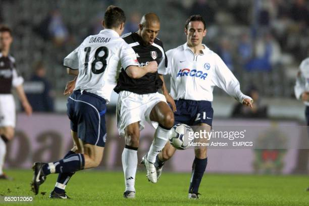 Steve Marlet of Fulham gets the ball through Berlin's Pal Dardai and Michael Hartmann