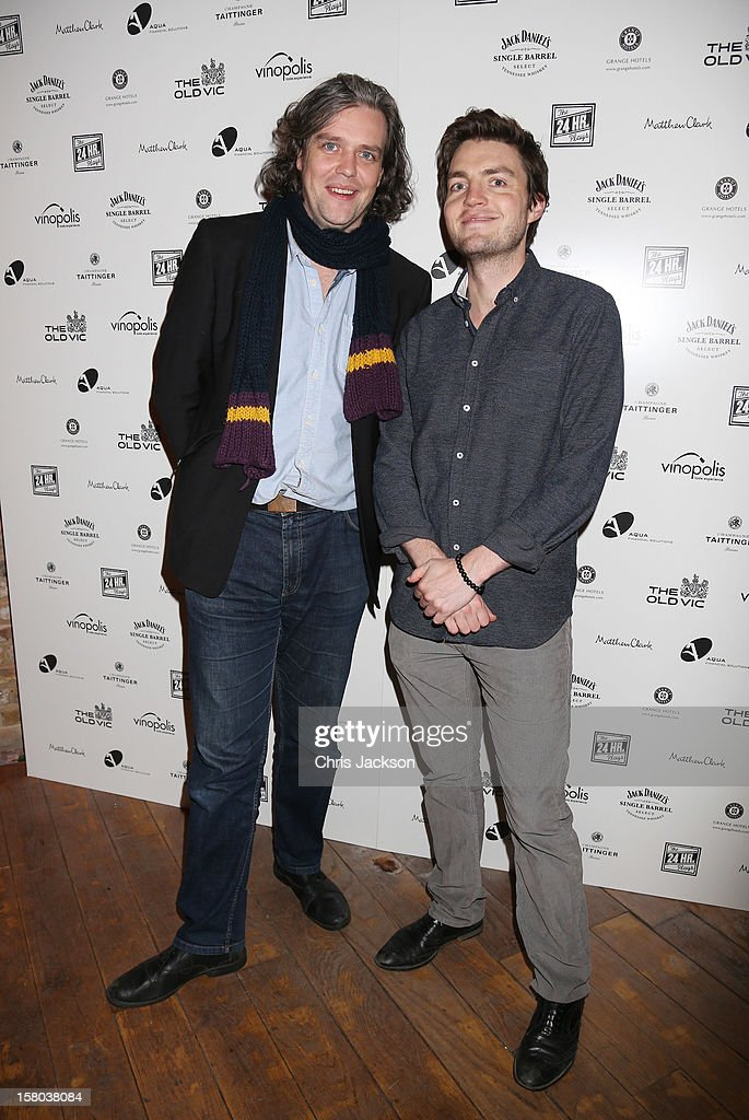 Steve Marmion and Tom Burke attend the post-show party, The 25th Hour, following The Old Vic's 24 Hour Musicals Celebrity Gala 2012 during which guests drank Jack Daniels Single Barrel, Curtain Raiser cocktails in The Great Halls, Vinopolis, Borough on December 9, 2012 in London, England.