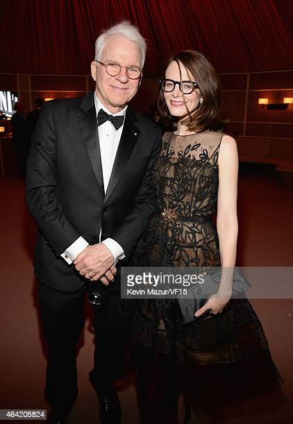 Steve Martin and Anne Stringfield attend the 2015 Vanity Fair Oscar Party hosted by Graydon Carter at the Wallis Annenberg Center for the Performing...