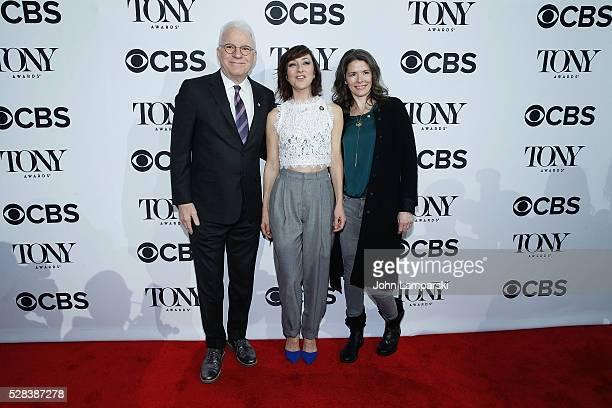 Steve Martin Carmen Cusack and Edie Brickel attend 2016 Tony Awards Meet The Nominees Press Junket at Diamond Horseshoe at the Paramount Hotel on May...
