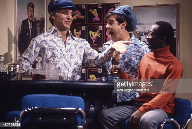 Steve Martin Dan Ackroyd and Garrett Morris are photographed on the set of Saturday Night Live in 1978 in New York City CREDIT MUST READ Ken...