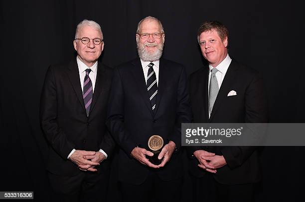 Steve Martin David Letterman and Jeffrey P Jones pose backstage during The 75th Annual Peabody Awards Ceremony at Cipriani Wall Street on May 21 2016...