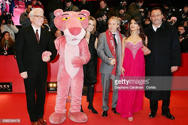 Steve Martin Harald Zwart Aishwarya Rai Bachchan and Jean Reno attend the premiere of 'The Pink Panther 2' during the 59th annual Berlin Film Festival