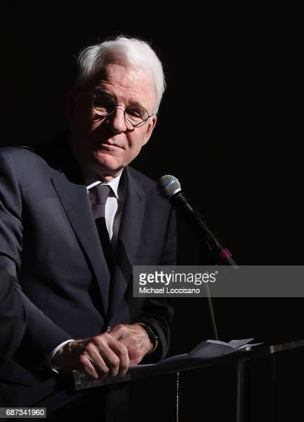 Steve Martin performs a bit during the Elevator Repair Service Theater 25th Anniversary Gala at Tribeca Rooftop on May 22 2017 in New York City