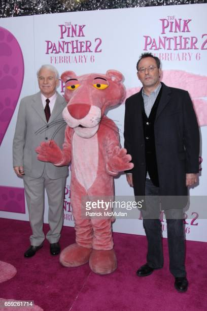 Steve Martin Pink Panther and Jean Reno attend COLUMBIA PICTURES and MGM Present the World Premiere of THE PINK PANTHER 2 at Ziegfeld Theatre on...