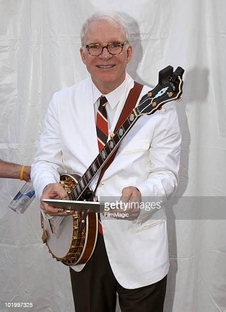 Steve Martin poses backstage before performing during Bonnaroo 2010 on June 11 2010 in Manchester Tennessee