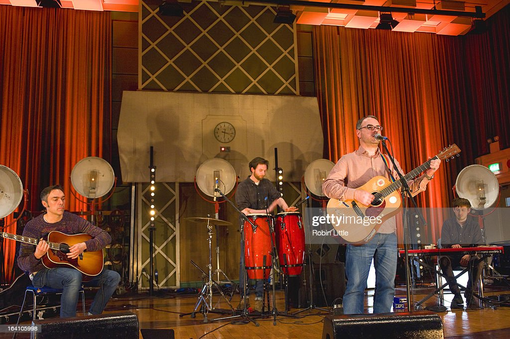 Steve Mason (front right) and band members perform at the press launch for Latitude Festival 2013 at BBC Maida Vale Studios on March 19, 2013 in London, England.