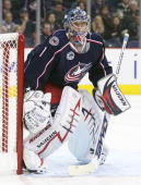 Steve Mason of the Columbus Blue Jackets keeps his eye on the play against the Detroit Red Wings during Game Four of the Western Conference...