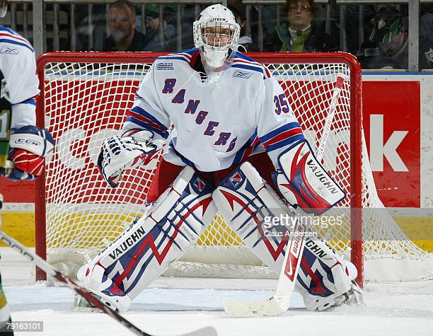 Steve Mason of the Kitchener Rangers waits for a shot in a game against the London Knights on January 20 2008 at the John Labatt Centre in London...